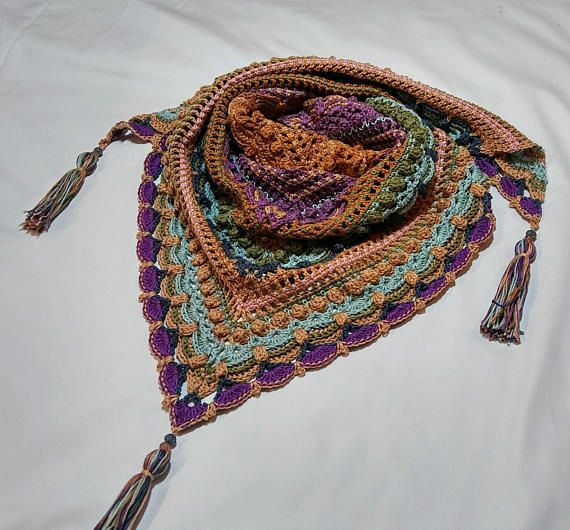 Crochet Cotton ShawlKnit ShawlHandmade With Beaded