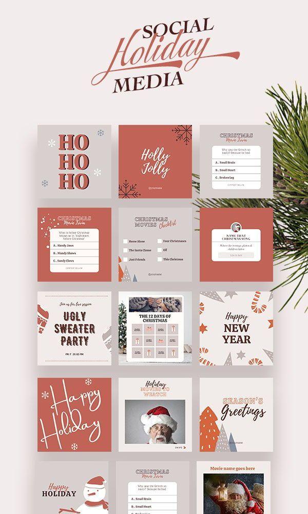 Happy Holiday Instagram Post Templates Graphic Social Media Flyer Digital Rustic Merry Christmas Marketing Canva Set Female Entrepreneur Desain Pamflet Desain Grafis Desain