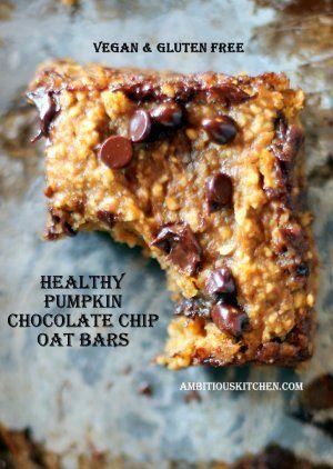 Healthy Pumpkin Chocolate Chip Oat Bars {vegan & gluten free} - Ambitious Kitchen