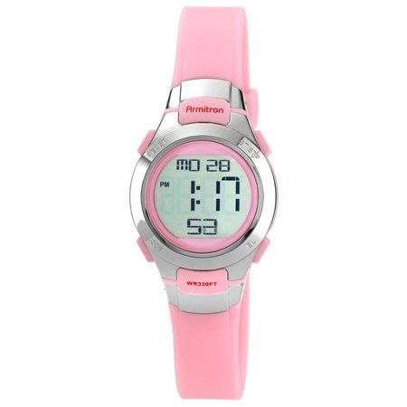 Armitron Womens Pink Digital Watch One Size Pink/silver