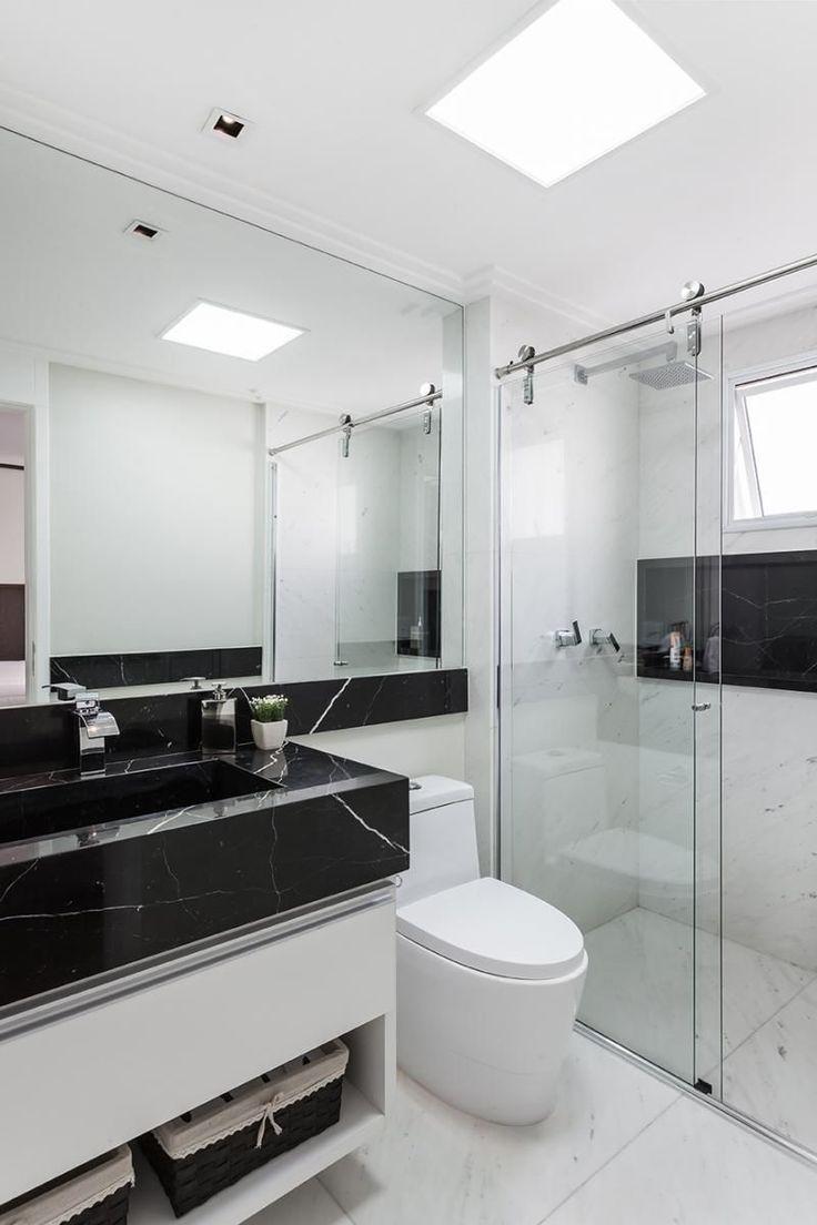 25+ melhores ideias sobre Banheiro Preto E Branco no Pinterest  Decoração ba -> Banheiro Pequeno Simples Branco