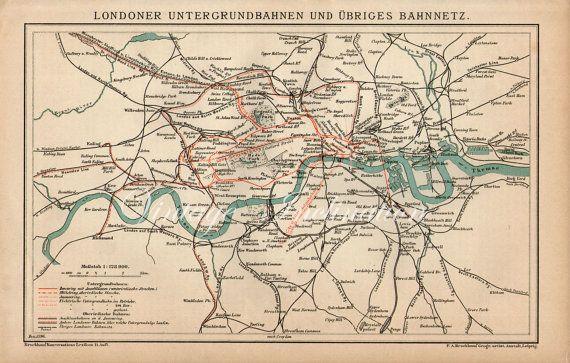 London Underground City Map 1896 Vintage ORIGINAL, map London UK Britain England map maps world