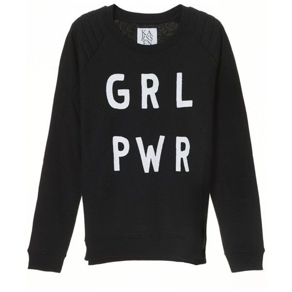 Zoe Karssen Girl Power Sweat ($83) ❤ liked on Polyvore featuring tops, hoodies, sweatshirts, relaxed fit tops, quilted sweatshirt, raglan sweatshirt, quilted top and raglan sleeve top