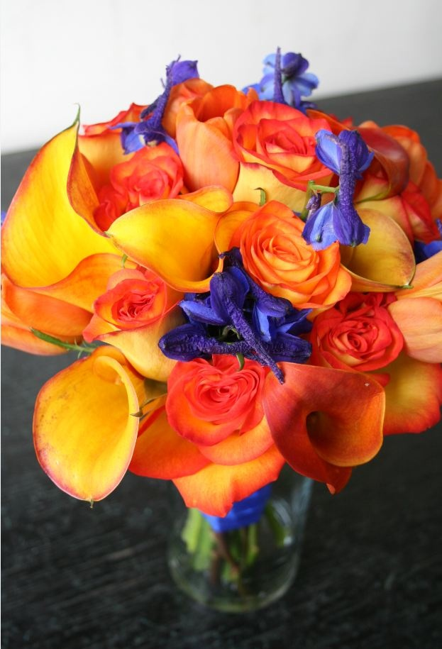 Orange And Blue Wedding Flower Bouquet Bridal Flowers Add Pic Source On Comment We Will Update It Can Create This Beautiful