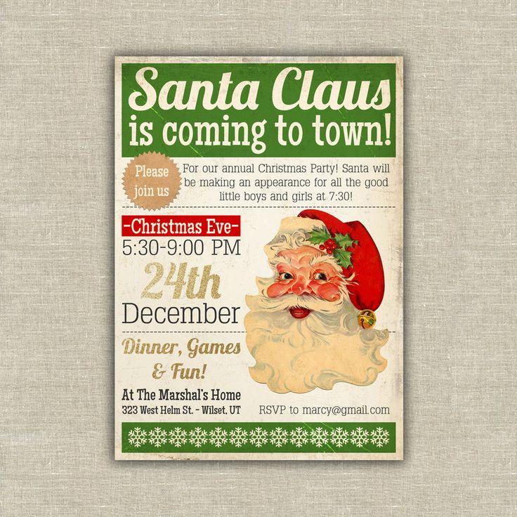 Santa Claus Christmas party invitation. $37.50, via Etsy ...