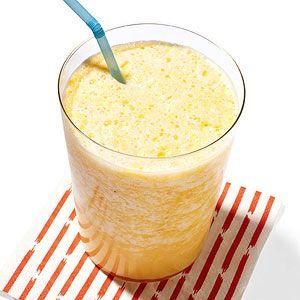 Orange Smoothie.- 1 orange, 1 cup ice cubes, 1/2 cup milk, 1 tsp honey, 1/2 tsp vanilla