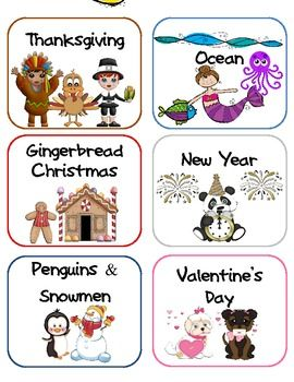 These themed labels can be used to organize the seasonal classroom decorations. AW.