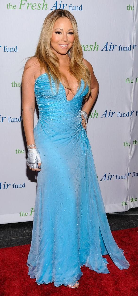 PHOTOS Mariah Carey Shows Off The Twins In Plunging Gown