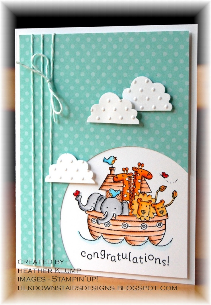 luv this card!! ... Noah's ark beautifully colored inside an off-the-page circle ... flat bottomed clouds floating by ... triple wrap of baker's twine ties it together ... Stampin' Up!