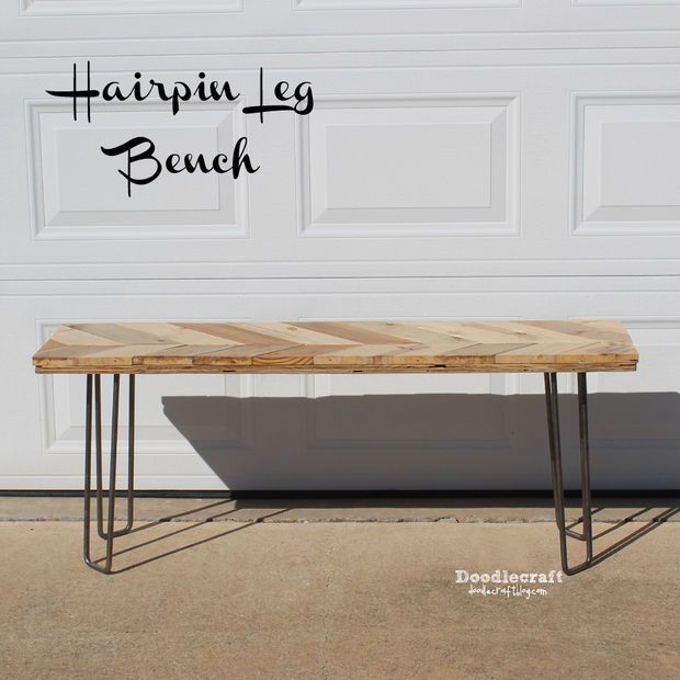 Chevron Wood Bench With Hairpin Legs Home Inspiration Pinterest And
