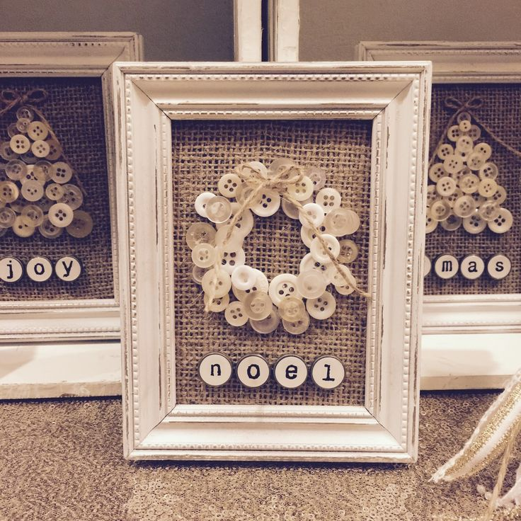 Antique shell button christmas wreath and christmas tree pictures with antique typewriter keys! Adorable!