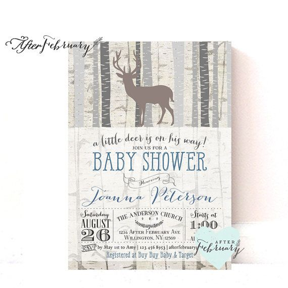 woodland baby shower invitation - baby boy shower invite deer, Baby shower invitations