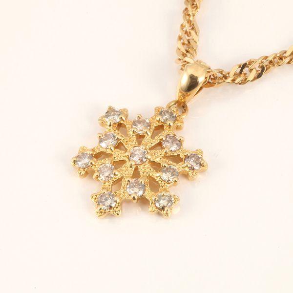 【中古】K18 ダイヤモンド 雪の結晶 ネックレス/新品同様・極美品・美品の中古ブランド時計を格安で提供いたします。