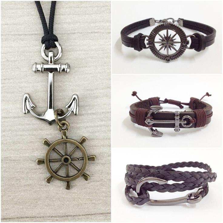 Pulseiras masculinas mens bracelets acessórios necklace navy ancora Rosa dos ventos couro trançado leather