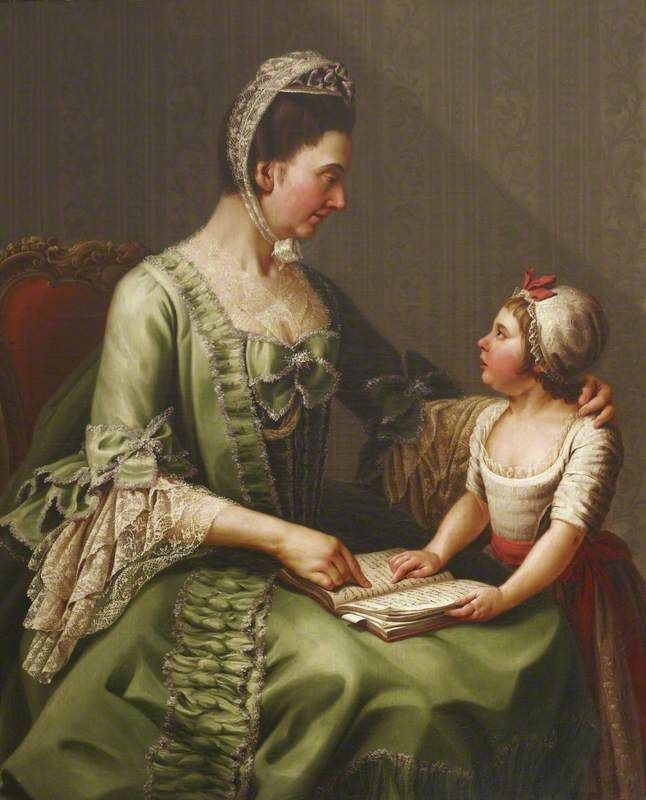 Elizabeth Davers (1730–1800), Countess of Bristol, and Her Daughter Lady Louisa Theodosia Hervey (1770–1821), Later Countess of Liverpool. Painted by Antonio de Bittio c. 1773.