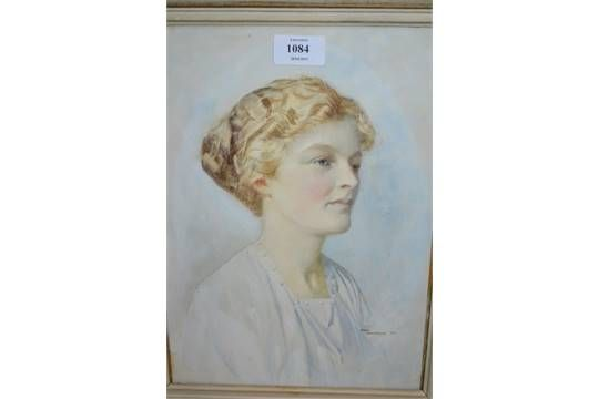 Fred Appleyard, signed watercolour, head and shoulder portrait of a young lady, 12.5ins x 9ins
