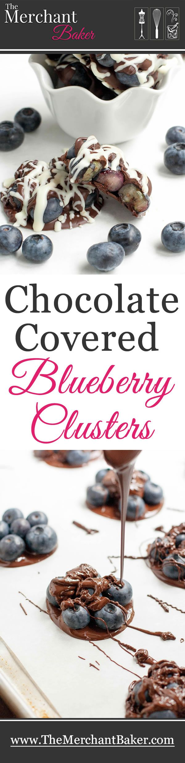 Chocolate Covered Blueberry Clusters. Fresh, plump and juicy blueberries are covered in dark and white chocolates for a refreshingly sweet summer treat!
