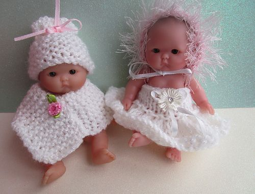 """This pattern is for three simple to make dolls hats using oddments of double knit yarn to fit a 5"""" Berenguer doll."""