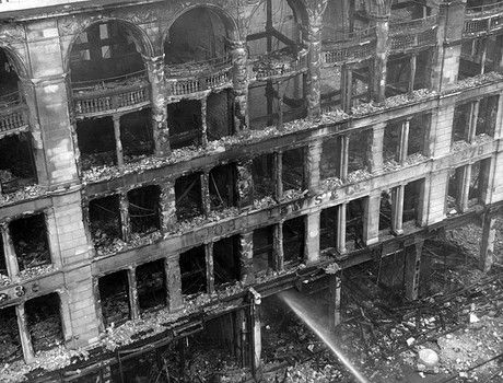 WWII, the Blitz in London. John Lewis department  store on Oxford Street.