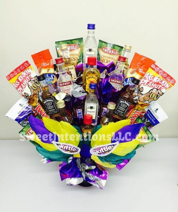 This liquor bouquet, Marci gras liquor and snack bouquet gift was donated by Sweet Intentions, LLC. Many designs available, but must be sold through an entity with proper licensing. For more information - http://facebook.com/SweetIntentionsLLC #liquorbouquet #mardigrasbouquet #housewarminggift #mensbouquet #fathersdaybouquet