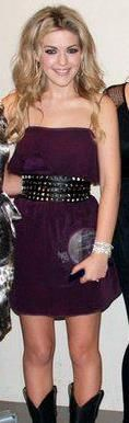 Carly McKillip purple mini dress with studded belt and cowboy boots (2010 BCCMA Awards)
