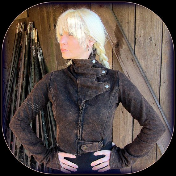 Steampunk Coat ~ Brown Black Cropped Jacket w/ Brass Details ~ Women's Victorian Post Apocalyptic Burning Man Festival Airship Pirate Garb