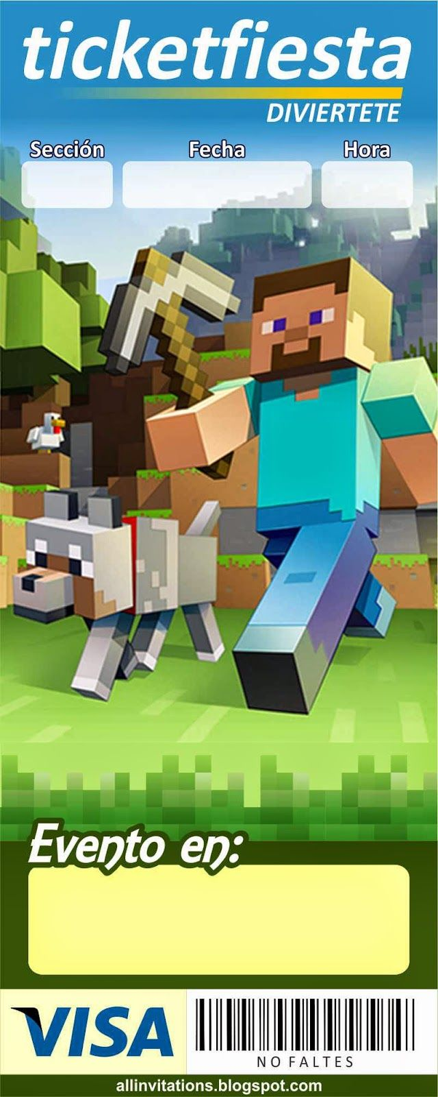 Invitación Ticketmaster Minecraft