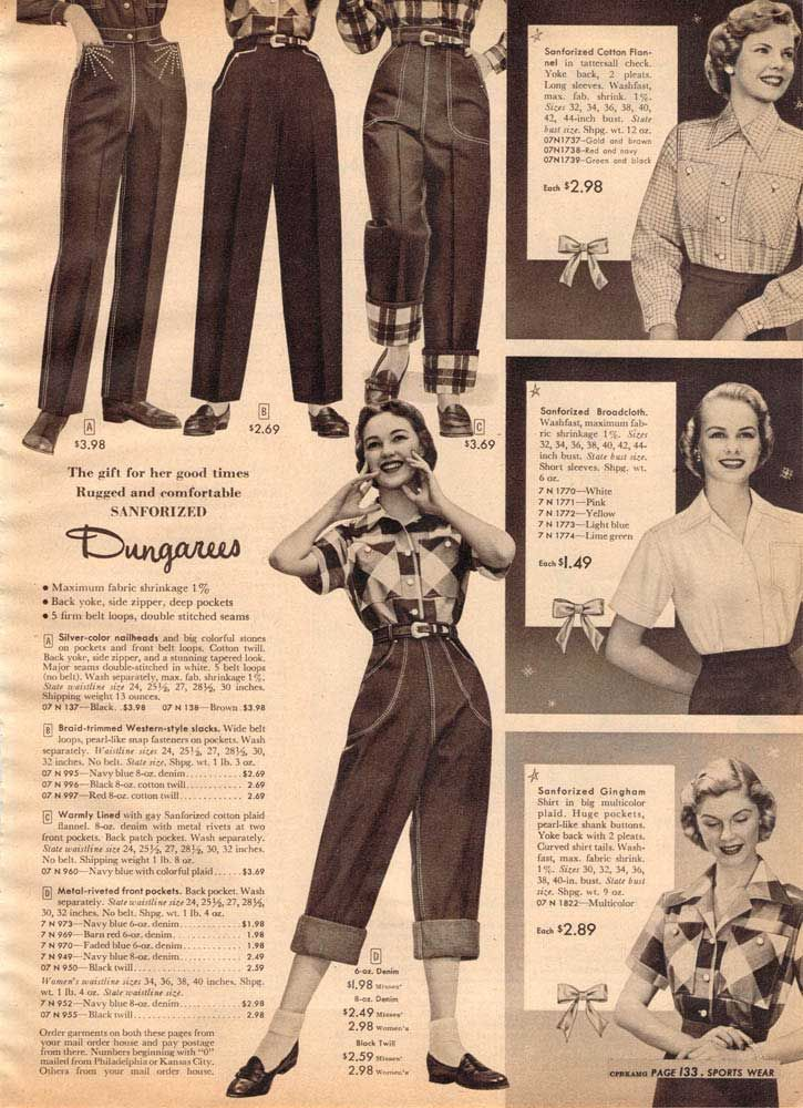 Vintage Women's Dungarees from a 1952 Sears catalog