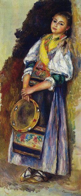 Auguste Renoir (1841/1919) - Impressionista GIRL WITH TAMBOURINE -1881 Sammlung Rosen Gart Art Museum Lucerne Switzerland  TAMBOURINE - instrumento percussão de mão