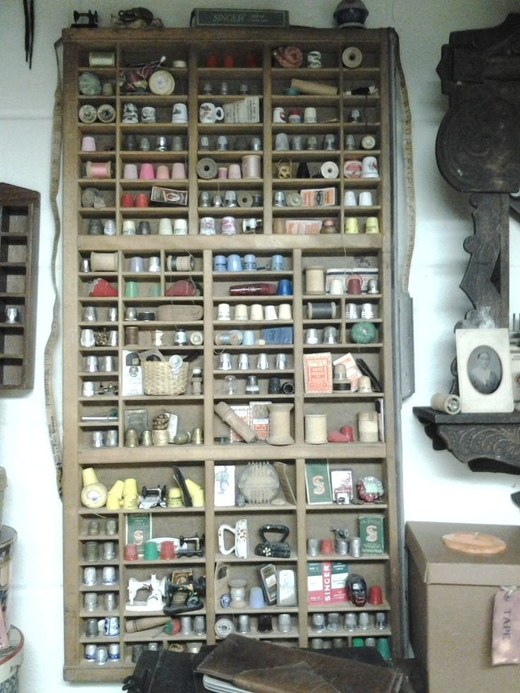 Sewing collections - great way to display the small items!