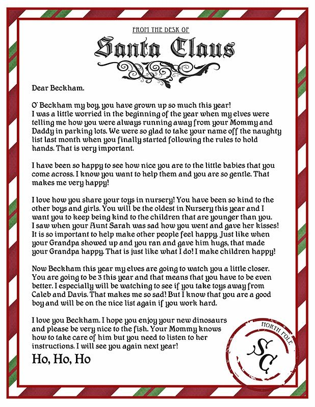 Letter from Santa free Printable. Email your friends family and teachers and ask them to email you if they see your child do something kind so you can leave a letter in your childs stocking from Santa that describes nice things Santa witnessed.