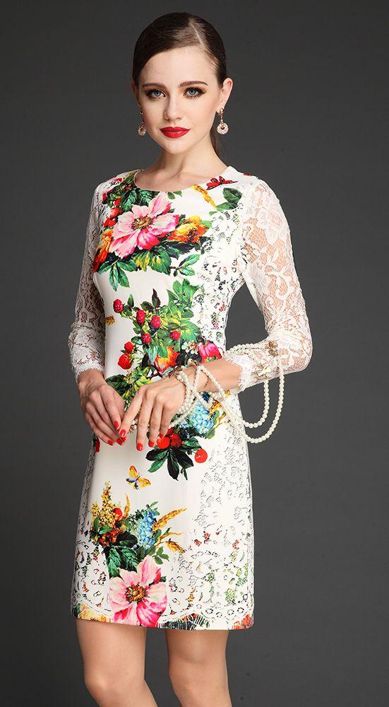 White Contrast Lace Long Sleeve Floral Print Dress - Sheinside.com