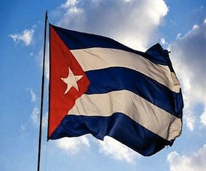 The Cuban flag was created June 25, 1948. Its three blue stripes represent the three parts the country was divided into, and the white represent purity and patriotism.  Also, the white star surrounded by a red triangle represents independence and the bloodshed of the battle to gain it.