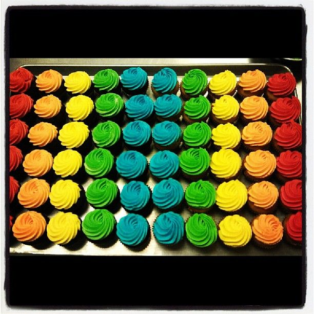 Double rainbow cupcakes! #westtowncakes #westtownbakery #cupcakes ...