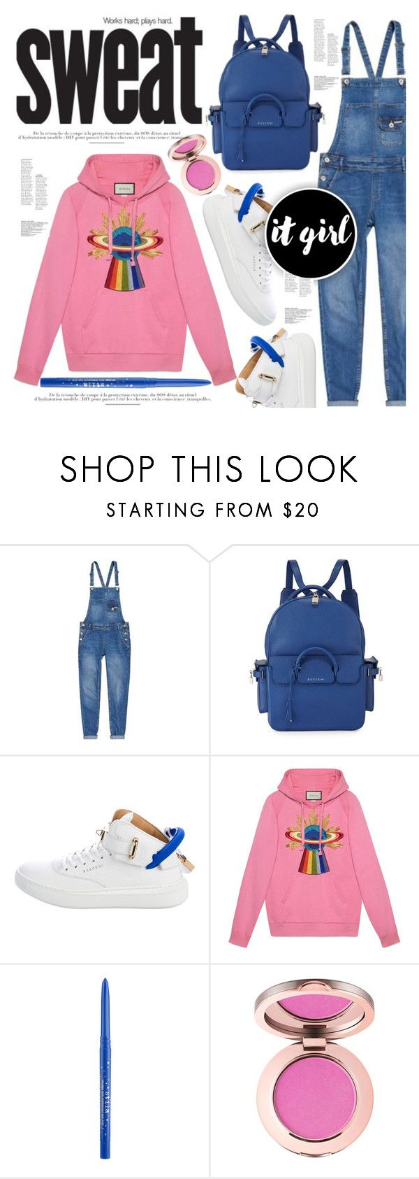 """stop sweatin me."" by mercimasada ❤ liked on Polyvore featuring Superdry, BUSCEMI, Gucci, Stila, denim, CasualChic, overalls, hoodie, Hoodies and casual"