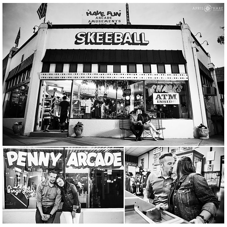 Fun date night style engagement photos at the Penny Arcade with SkeeBall and horse racing in Manitou Springs, Colorado.