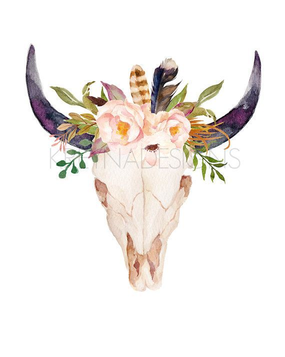Bull skull flowers printable tribal nursery wall art buffalo ...