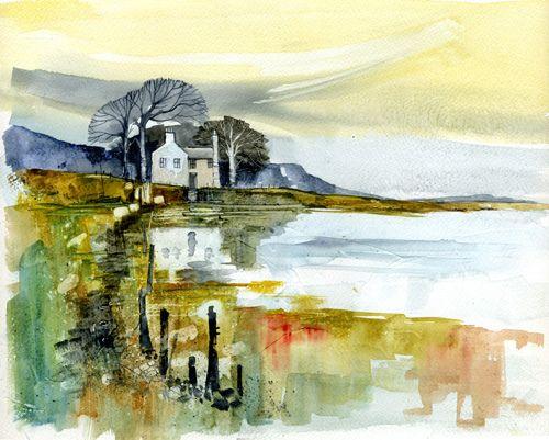 """Paul Steven Bailey  Estuary reflextions  Watercolour on gesso primed paper  16"""" x 12""""  2010"""