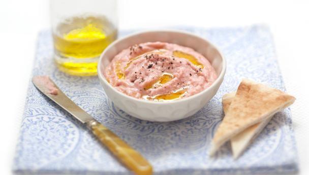 Taramasalata - 1 slice white bread, crusts removed 200ml/8fl oz milk 110g/4oz cod roe 3 cloves garlic, crushed 1 tbsp parsley, chopped 1 tbsp lemon juice olive oil http://www.bbc.co.uk/food/recipes/smokedcodtaramasalat_78550