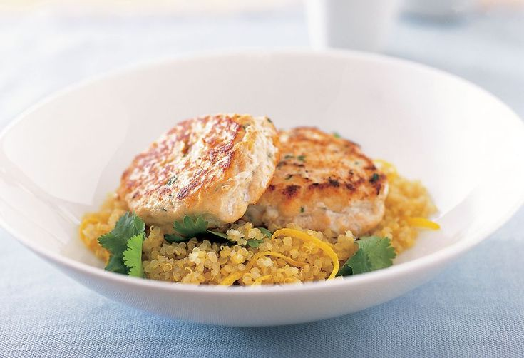 Fish Cakes with Quinoa - We love these herby, zesty fish cakes! Serve on quinoa (as per recipe) or wrap them up with coriander, avocado and crisp cos lettuce in a wholegrain tortilla.