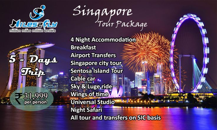 #Singapore best Tour #Packages. #Myles2fly providing best deals to #fly Singapore. Our Package Highlights #5days in Singapore. 4 Night #Accommodation #Breakfast #Airport Transfers #Singapore city tour #Sentosa Island Tour #Cable car Sky & #Luge ride #Wings of time #Universal Studio Night #Safari  All tour and transfers on #SIC basis Looking for a holiday #packages?? Click  http://www.miles2fly.com/enquiry.php?source=Facebook
