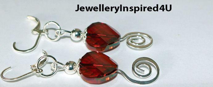 Swarovski Cranberry Red Crystal 925 Spiral Earrings. Festive Earrings. Dangle Earrings. Christmas Earrings by JewelleryInspired4U, $21.25 USD