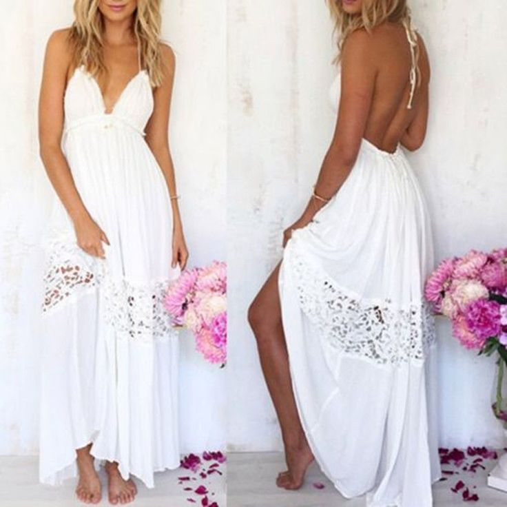 Womens Summer Dresses White Party Maxi Dress Long Beach Dress Bohemian Loose #Unbranded #LaceDress #Casual