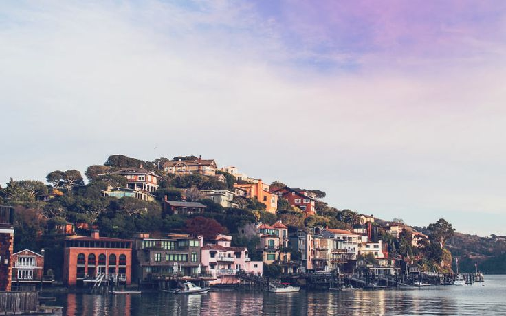 Tiburon California is another town that's on the water, with houses up into the hill, and is also quite haunted.