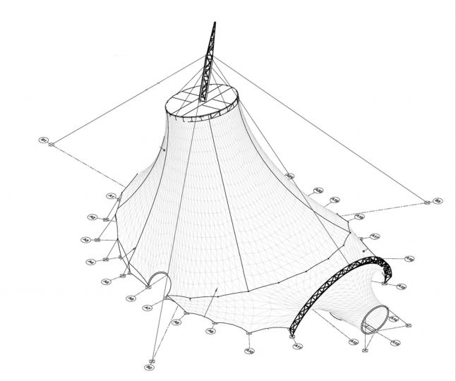A computer modeling of final form of a tension structure for inclusion in a set of construction documents.  more Tensile Estructures India