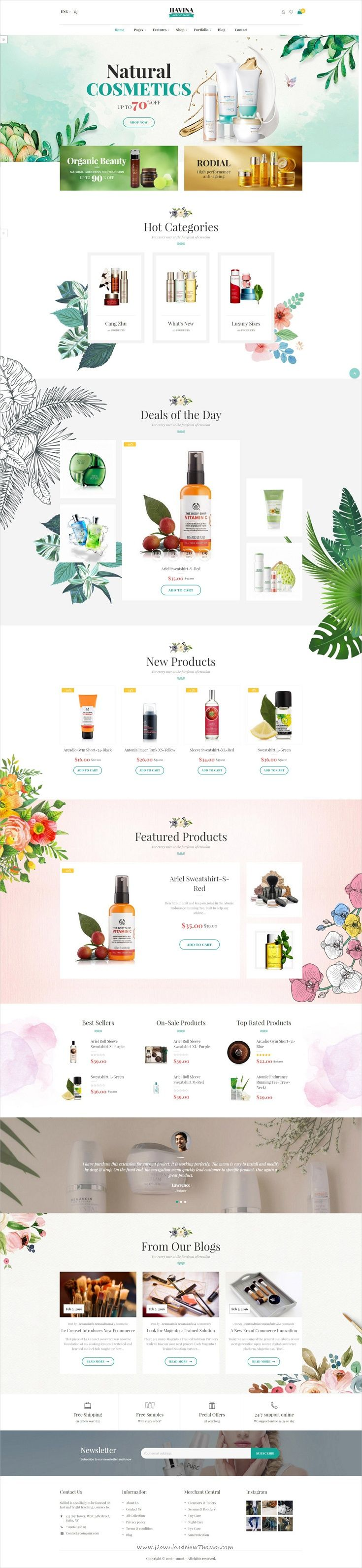Havina is clean and modern design responsive @Magento theme for #beauty care stores, #cosmetic products, and beauty Salon website download now..