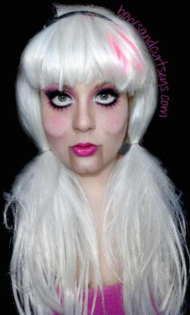Creepy doll makeup halloween costume touching