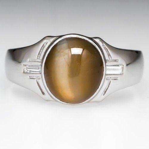 Mens Cats Eye Chrysoberyl Ring Diamond Accents Platinum $12,999 oval cabochon cut - 10.50x9.30x7.68mm