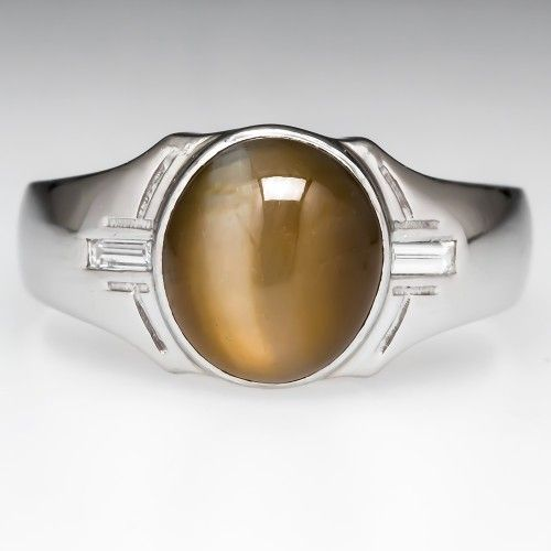 Mens Cats Eye Chrysoberyl Ring Diamond Accents Platinum $12,999 oval cabochon cut - 10.50x9.30x7.68mm