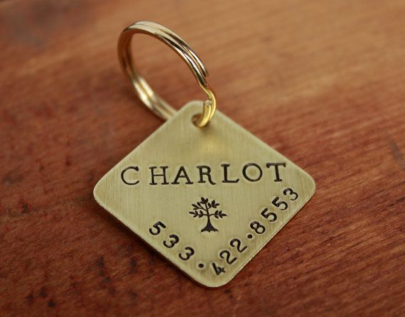 Large dog ID tag  Personalized handstamped diamond square